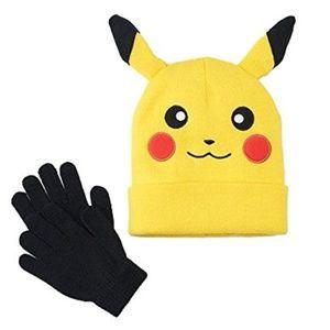 Pokemon Pikachu Beanie Hat & Gloves Set (NWtT)
